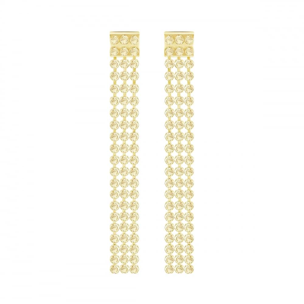 Swarovski Fit Long Gold Earrings