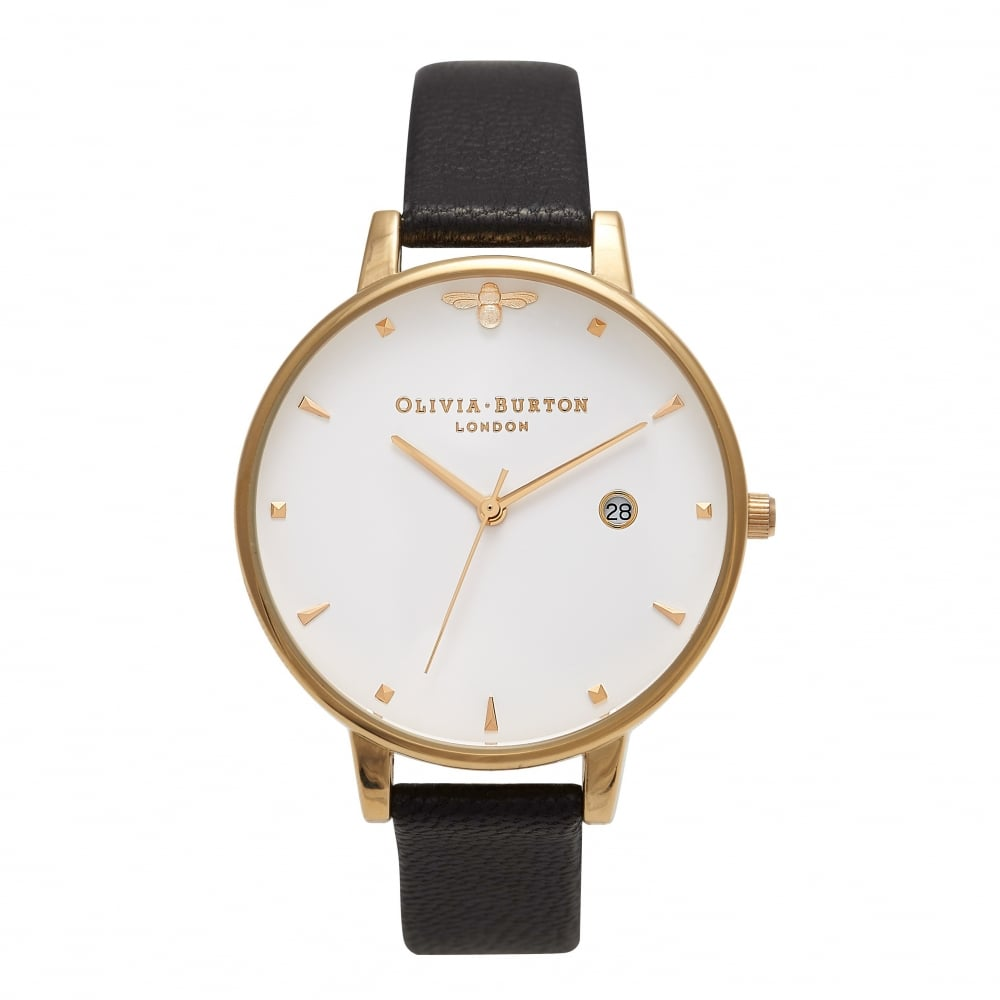 Olivia Burton Black   Gold Bee Watch OB16AM86 Hadleigh Jewellery and ... e434add2b1